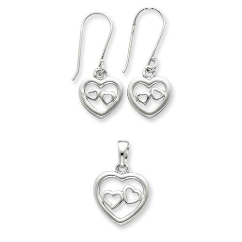 Sterling Silver Heart Earrings and Pendant Set. Metal Wt- 3.98g