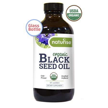 Naturise Black Seed Oil Organic Cold Pressed, Black Cumin Seed Oil Nigella Sativa GLASS BOTTLE (8 oz) Source of Essential Fatty Acids, Omega 3 6 9, Antioxidant for Immune Boost, Joints, Skin, &