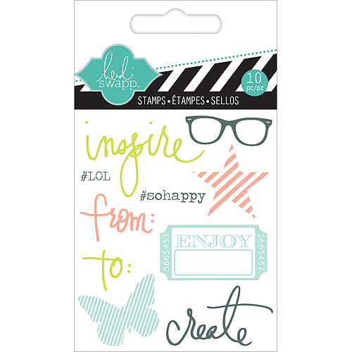"Heidi Swapp Clear Mini Stamps 3""X3.5""-Inspire"