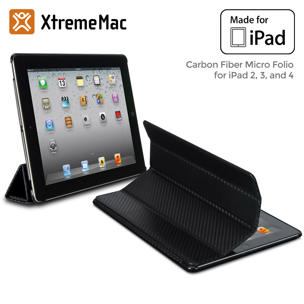 XtremeMac Carbon Fiber Micro Folio Case for iPad 2, 3 & 4, Black