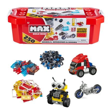 MAX Build More Premium Building Bricks Accessories and Wheels Set (250 Pieces) - Major Brick Brands Compatible