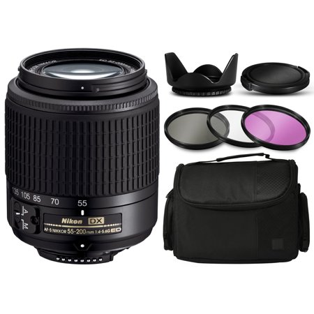 Nikon AF-S DX Zoom-NIKKOR 55-200mm f/4-5.6G ED Lens 2156 with Deluxe Accessories Bundle Package includes 3 Filters (UV-CPL-FLD) + Flower Tulip Hood + Extra Lens Cap Cover + Large Padded Case