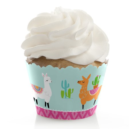 Whole Llama Fun - Llama Fiesta Baby Shower or Birthday Party Cupcake Decorations - Party Cupcake Wrappers - Set of 12