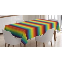 Fiesta Tablecloth, Mexican Inspired Colorful Chevron Zigzags Three Dimensional Pattern Tribal Culture, Rectangular Table Cover for Dining Room Kitchen, 60 X 90 Inches, Multicolor, by Ambesonne