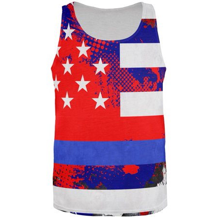 4Th Of July Thin Blue Line Police Lives Matter Distressed Splatter Mens Tank Top