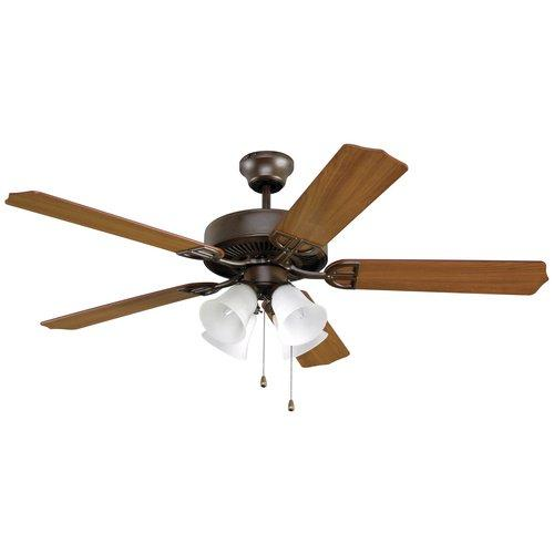 Builder Ceiling Fan with Frosted Glass Light in Oil Rubbed Bronze