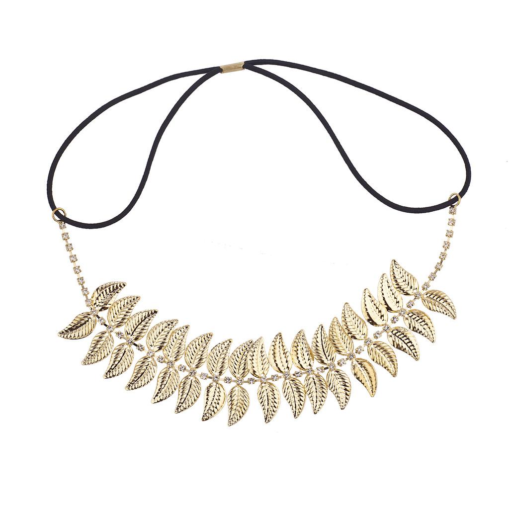 Lux Accessories Gold tone Boho Casted Leaves Leaf Rhinestone Headwrap