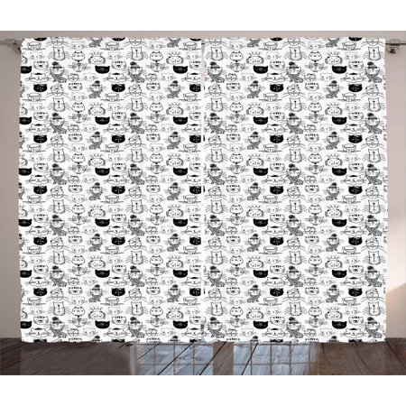 Kids Curtains 2 Panels Set, Comic Doodle Cat Faces with Scarf Hipster Hats Crown Childish Caricature Art, Window Drapes for Living Room Bedroom, 108W X 108L Inches, Black and White, by Ambesonne