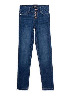 Celebrity Pink Girls Mid Rise Exposed 3 Buttons Skinny Jeans, Sizes 7-12