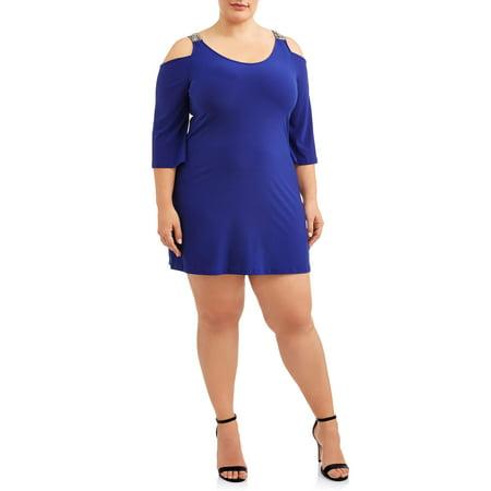 Women\'s Plus Size Embellished Cold Shoulder Flare Sleeve Dress