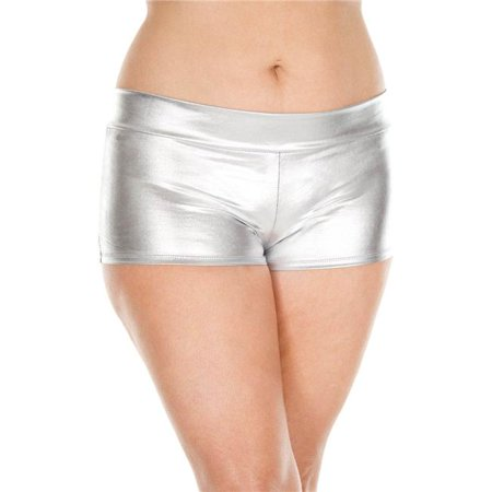 Plus Size Metallic Booty Shorts with Waist Band - Silver - Metallic Booty Shorts