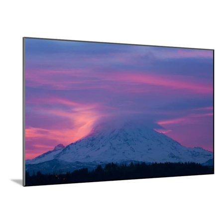 Rainier Wool (Mt Rainier at Sunrise, Washington, USA Wood Mounted Print Wall Art By Art Wolfe )