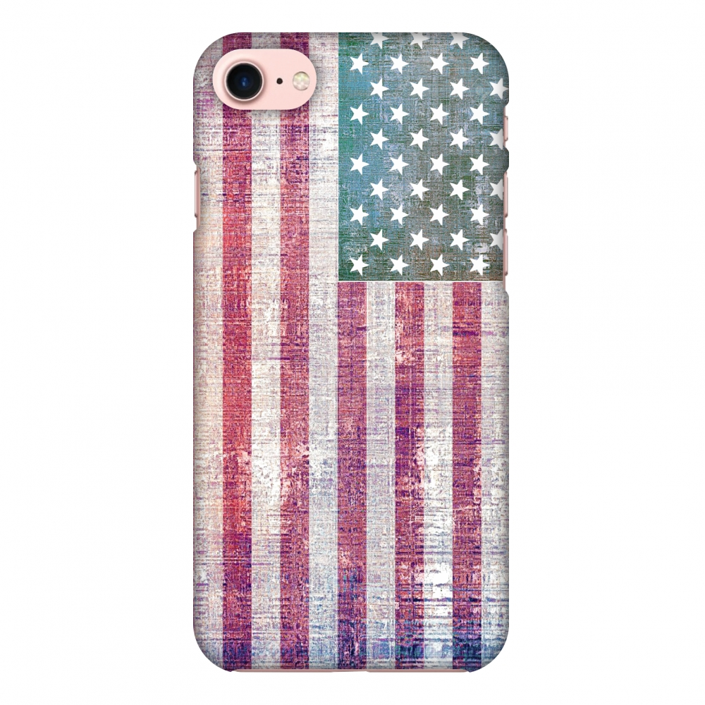 iPhone 8 Case - USA flag- Wood texture, Hard Plastic Back Cover, Slim Profile Cute Printed Designer Snap on Case with Screen Cleaning Kit