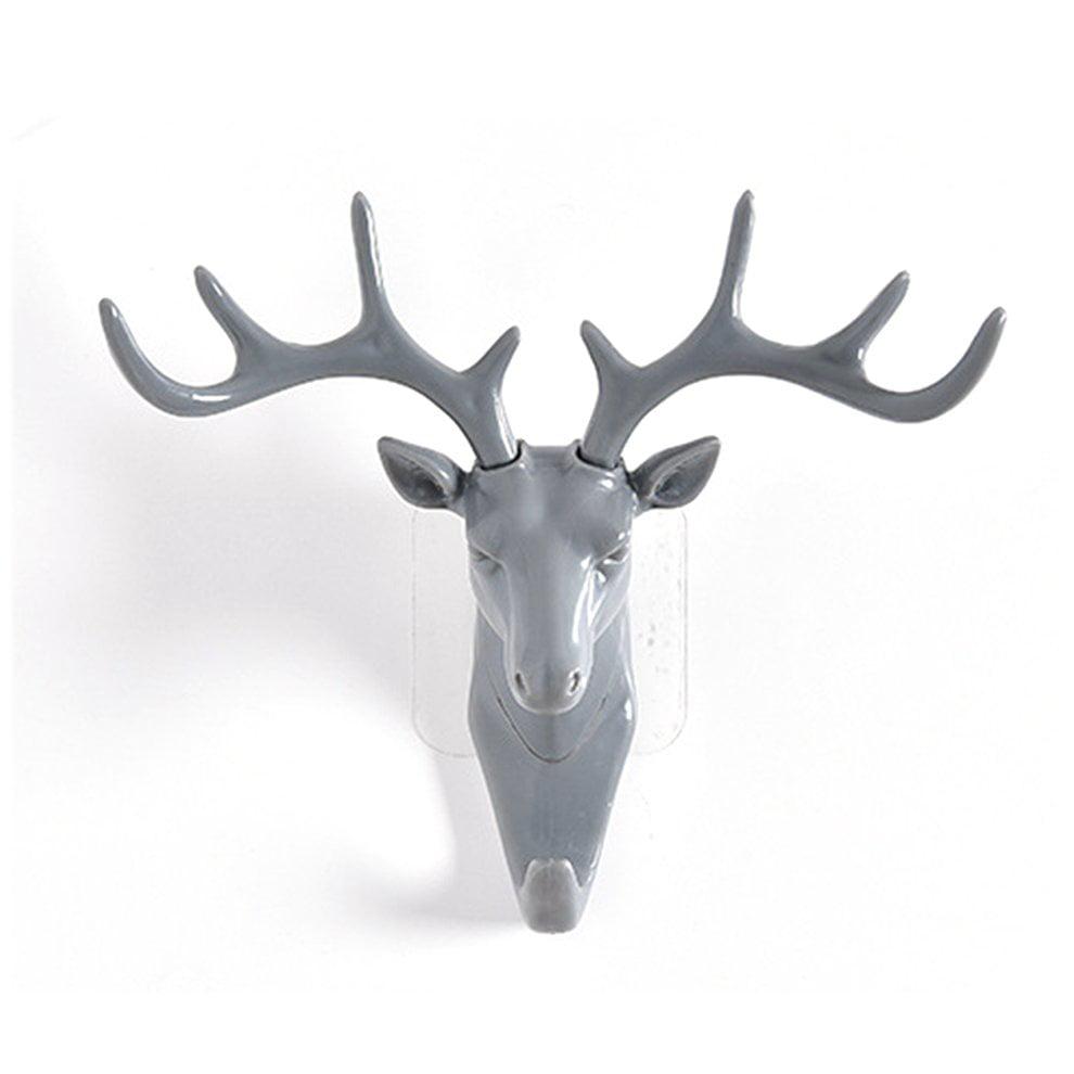 Creative deer head no trace hook stereo wall hanging hook ...