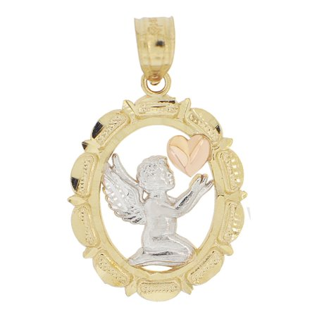 - 14k Tricolor Gold, Angel Mini Heart Pendant Charm Oval Medal