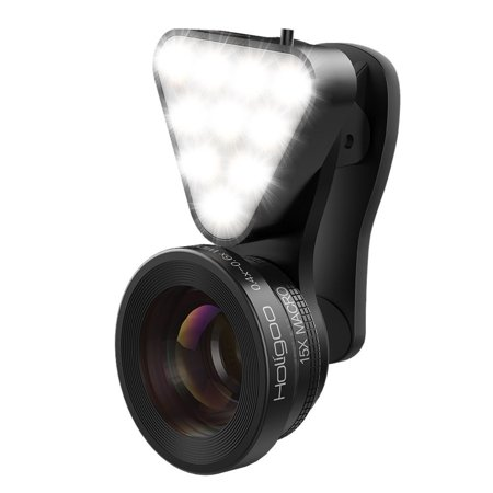 Low Light Camera Set - Holigoo 2 in 1 Cell Phone Camera Lens Kit with Beauty LED Flashlight, 0.4X Super Wide Angle Lens + 15X Macro Lens, Clip-on Phone Camera Lenses for iPhone 7, 6s, 6, 5s & Most Smartphones
