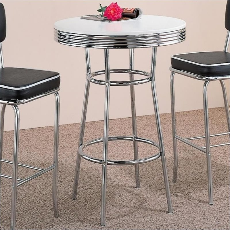 Bowery Hill 1950's Soda Fountain Pub Table in White and Chrome