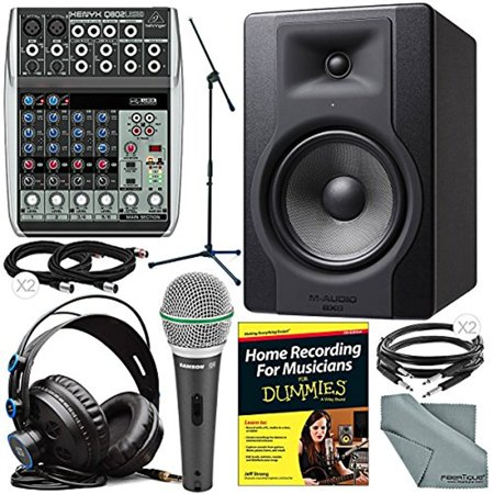 "M-Audio BX8 D3 8"" 150W Powered Studio Reference Monitor and Behringer Xenyx Q802USB Mixer Deluxe Studio Package w/ Presonus HD7 Headphones, Dynamic Mic & Stand, Home Recording Guide, More"