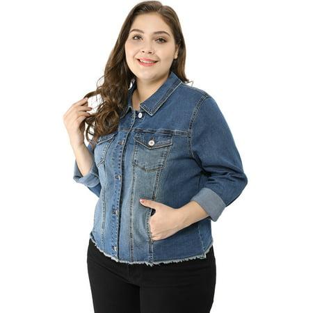 2877dc5c5c5 Women s Classic Plus Size Denim Jacket Blue 2X - image 1 ...