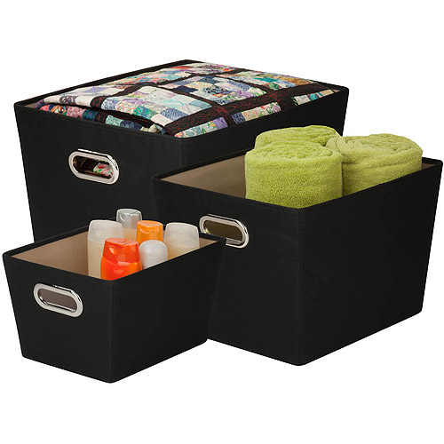 Honey Can Do Decorative Storage Bins with Handles, Multicolor (Set of 3)