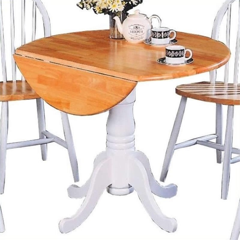 Bowery Hill Round Pedestal Drop Leaf Dining Table in Natural and White