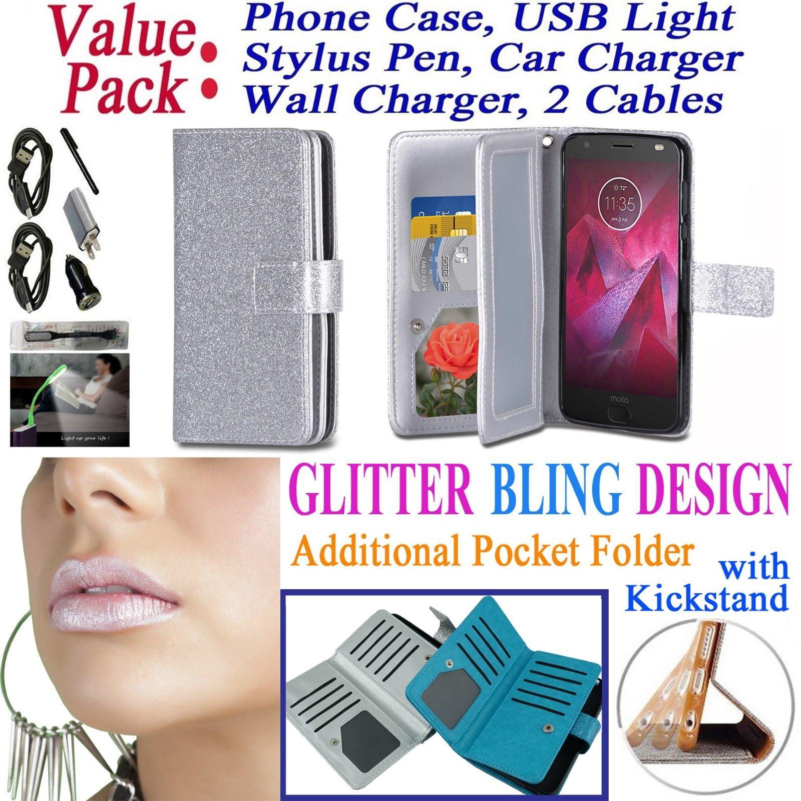 "Value Pack + for 5.5"" Motorola moto Z2 Play Z2 Force Case Glitter Wallet Phone Case Hybrid Folder Extra Pocket Pouch Purse Screen Flip Cover Rose"