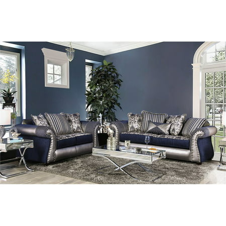 Furniture of America Ivy 2 Piece Sofa Set in Navy and Silver