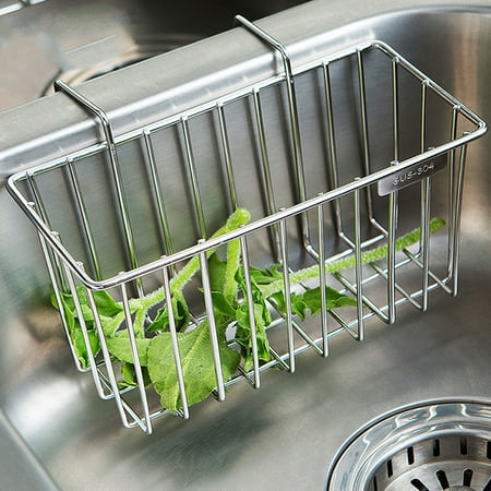 kitchen sponge holder sink caddy brush soap drainer rack stainless steel - Kitchen Sponge Holder
