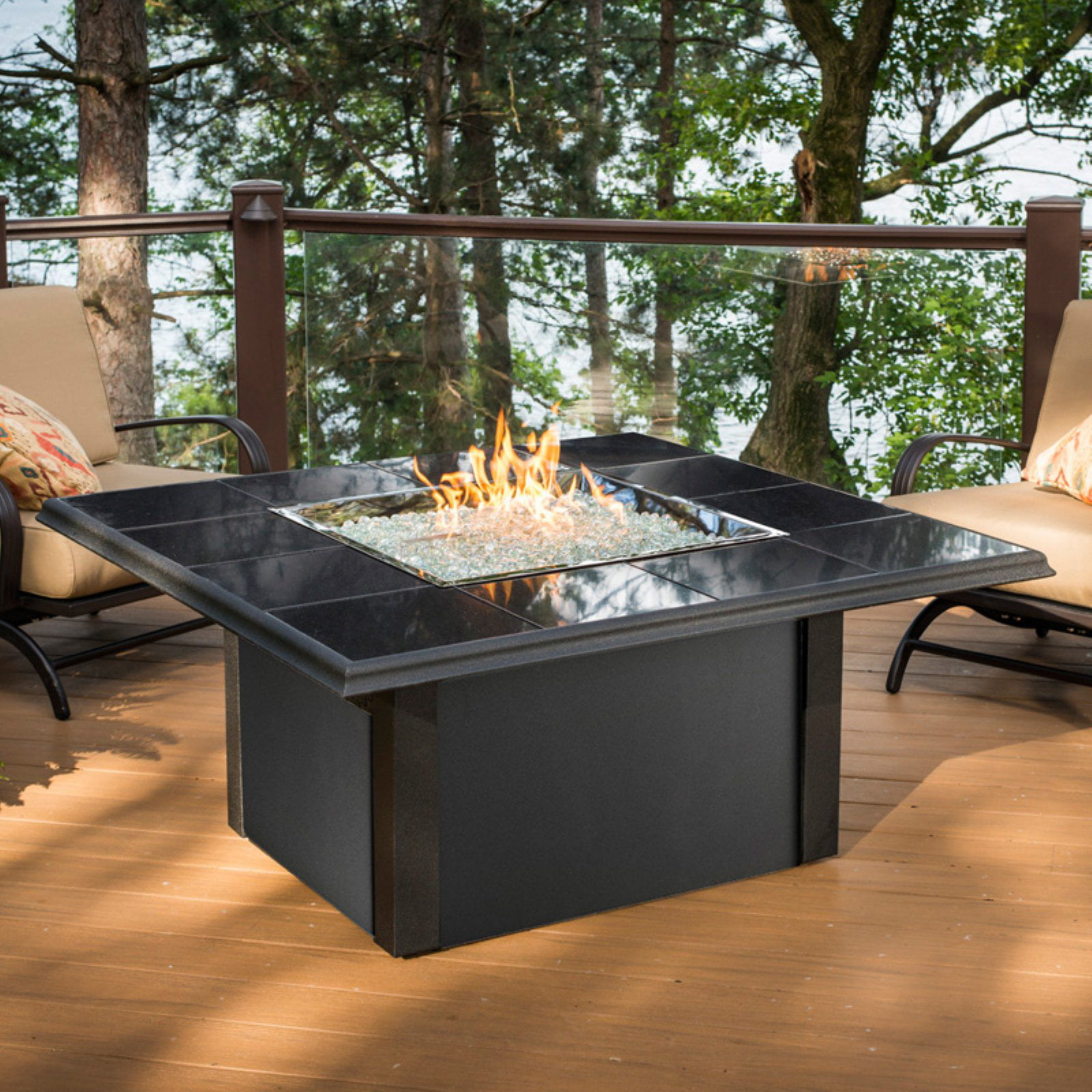 Outdoor GreatRoom Napa Valley Square Firepit Table by Firepits