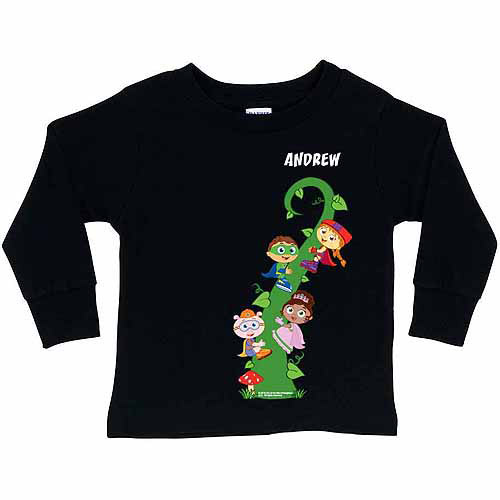 Personalized Super Why! Reading Adventure Toddler Black Long Sleeve Shirt