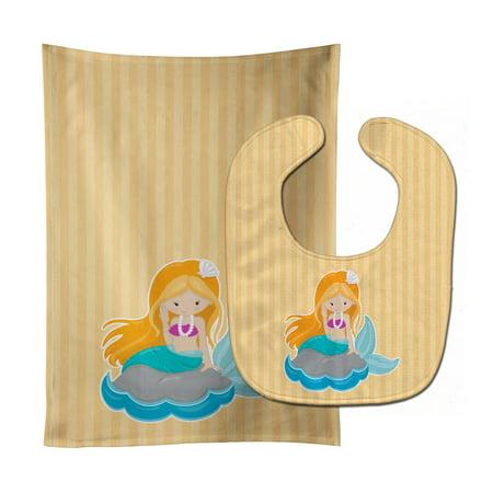 Beach Mermaid Ginger Hair Baby Bib & Burp Cloth Hair Baby Bib