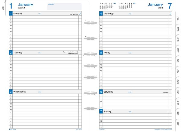 photo relating to Weekly Planner Page identify Working day-Timer Merely Outlined 2-Website page-For every-7 days Planner Refill Table Sizing - Free-Leaf