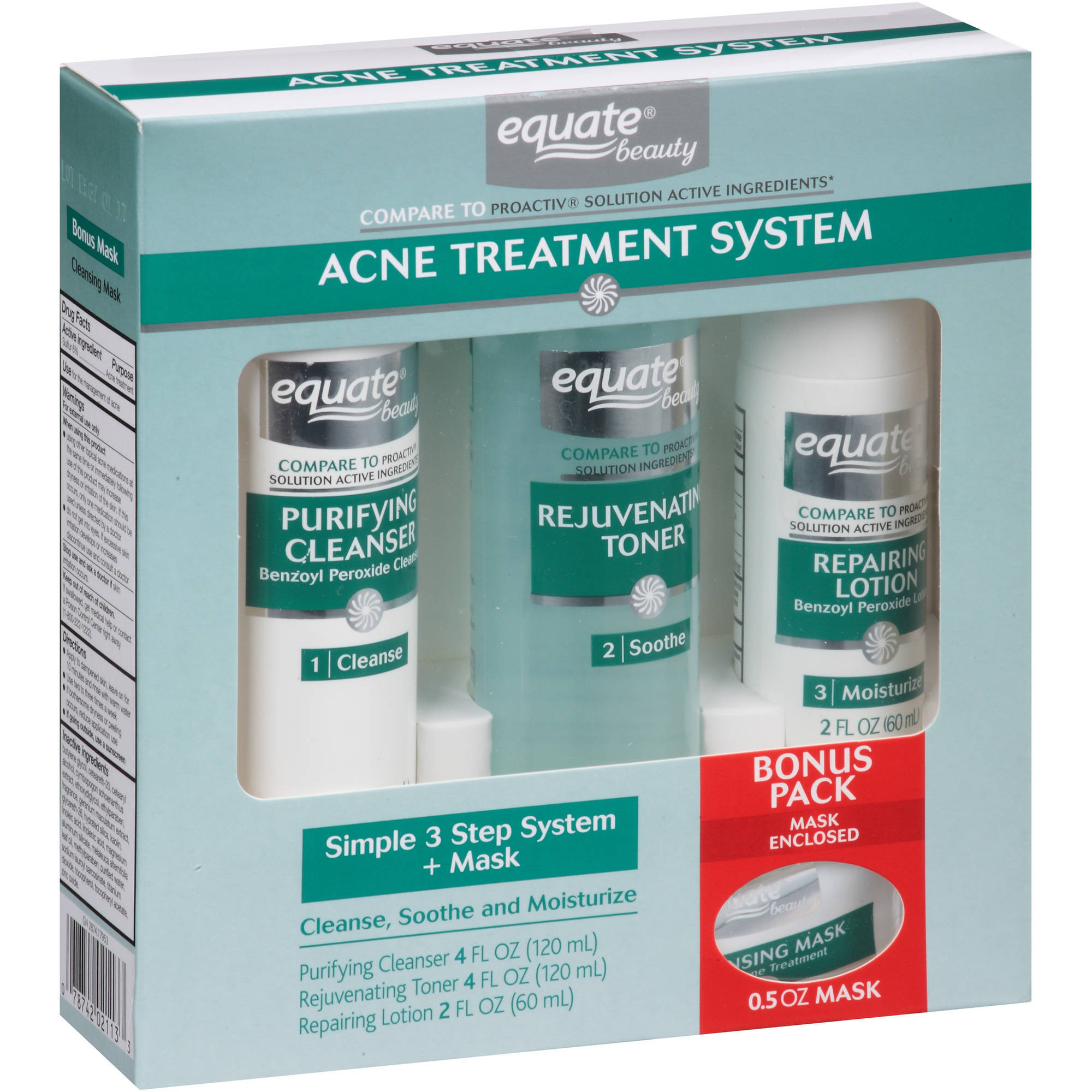 Equate Beauty Simple 3 Step Acne Treatment System + Mask