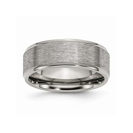 - Mens Titanium Ridged Edge 8mm Brushed and Polished Wedding Band Ring Size 13.5