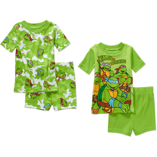 Teenage Mutant Ninja Turtles Infant Baby Boy' Mix n' Match Short Sleeve Cotton Tight Fit Pajamas, 4-Pieces
