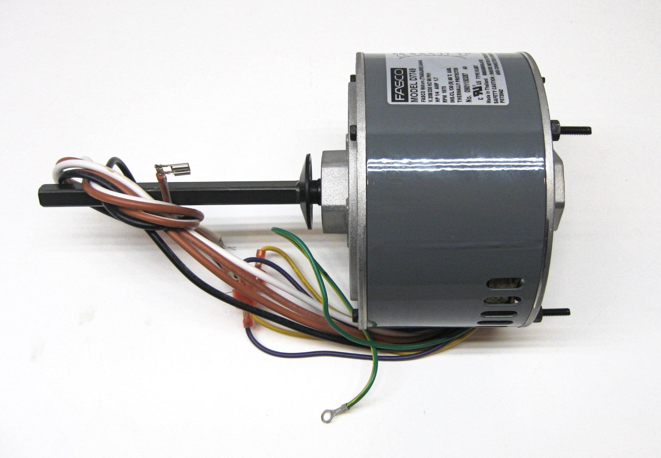 air conditioner condenser fan motor shaft up 1 4 hp 230 volts 1075air conditioner condenser fan motor shaft up 1 4 hp 230 volts 1075 rpm ball bearing single speed for fasco d7749 walmart com