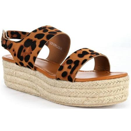 Espadrille-03 Women Espadrille Slingback Flatform Platform Gladiator Sandal Leopard ()