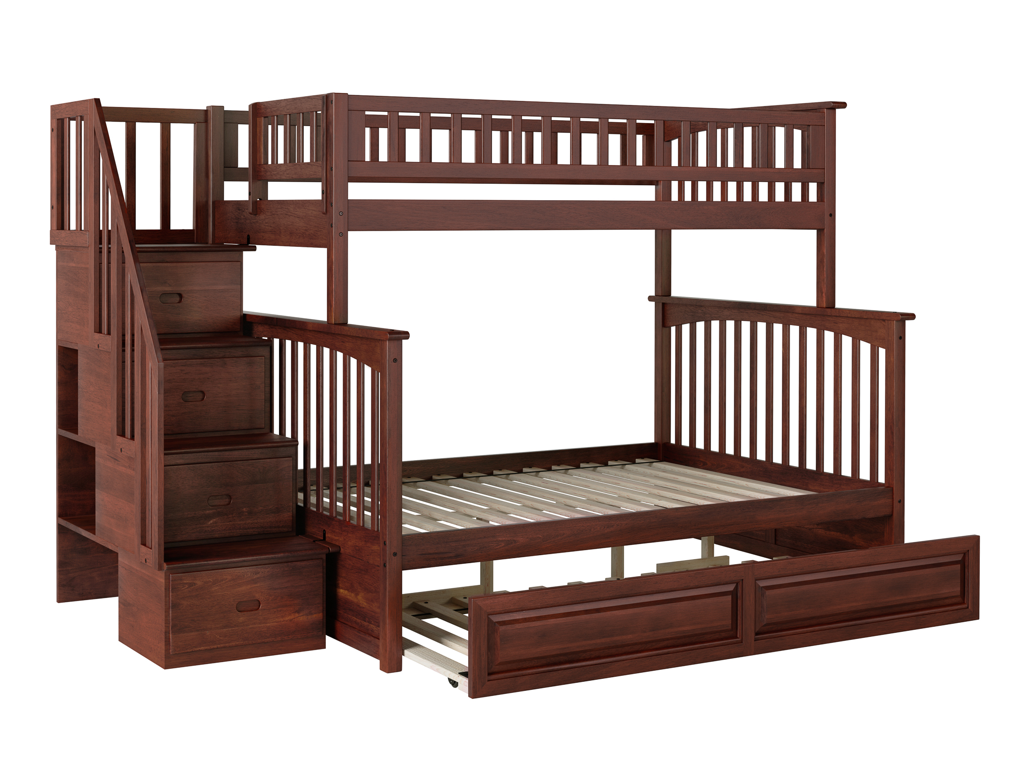 Picture of: Columbia Staircase Bunk Bed Twin Over Full With Twin Size Raised Panel Trundle Bed In Walnut Walmart Com Walmart Com