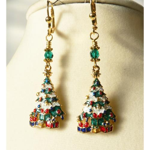 Palmtree Gems  'Christmas Tree' Dangle Earrings