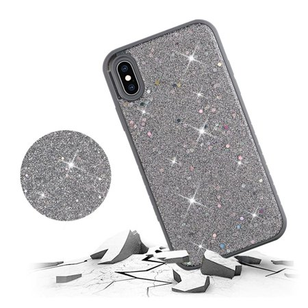 Apple iPhone XS Max Case, by Insten Full Frozen Crude Glitter Dual Layer [Shock Absorbing] Hybrid Hard Plastic/Soft TPU Rubber Case Cover For Apple iPhone XS Max, Silver - image 2 of 3