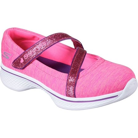 Skechers Girls' GOwalk 4 Jersey Gems Mary Jane Sneaker,Hot Pink/Purple,US 3 M
