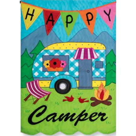 Custom Decor Applique Garden Flag - Happy Camper](Cheap Custom Flags)