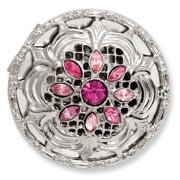 1928 Womens  Pink Light Pink Accents Crystal Round Shape Pill Box 69622