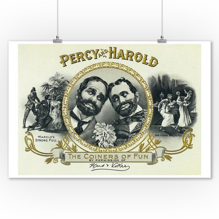 Percy and Harold Brand Cigar Box Label - The Coiners of Fun (9x12 Art Print, Wall Decor Travel Poster) (Band Fun)