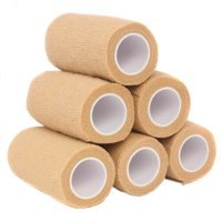 """Ever Ready First Aid Self Adherent Cohesive Bandages 4"""" x 5 yds Tan – 6 count"""