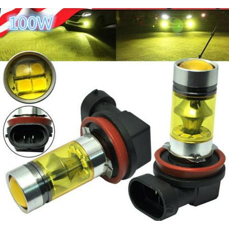 2X H11 H8 100W LED 4300K YELLOW Samsung Projector Fog Driving Light Bulbs 1500LM