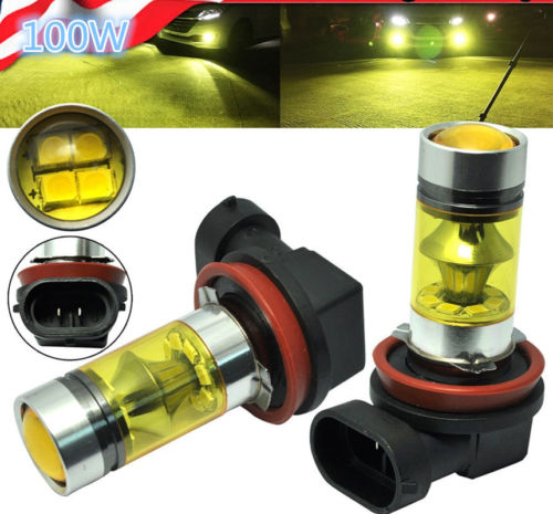 2X H11 H8 100W 20SMD Samsung LED Fog Lights 600K HID White 1980LM Driving Bulbs