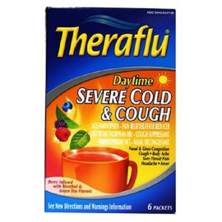 Theraflu Daytime Severe Cold and Cough Berry Infused with Menthol and Green Tea -- 6 Packets