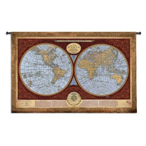 Map of the World Wall Tapestry - 42W x 53H in.