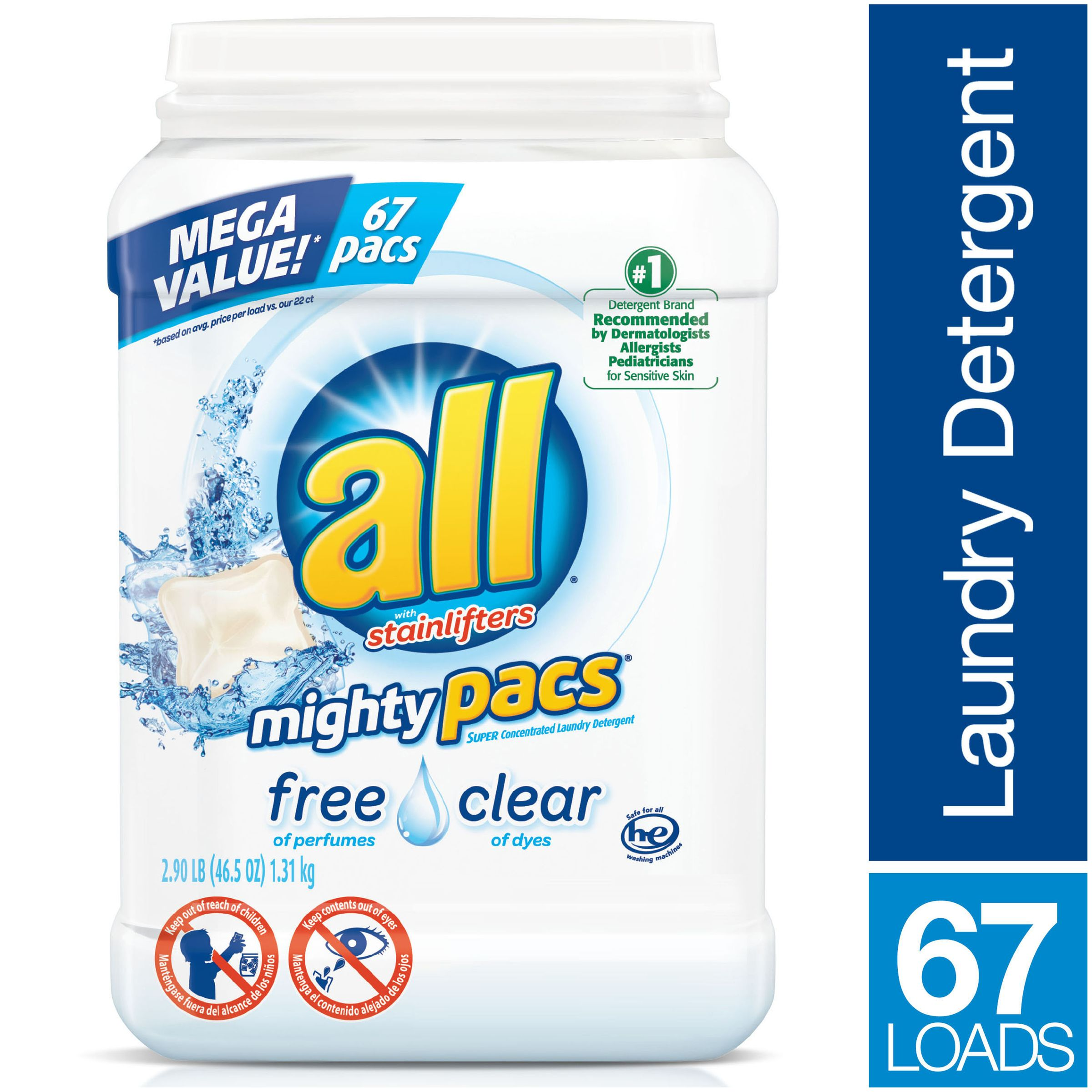 all mighty pacs laundry detergent free clear for sensitive skin